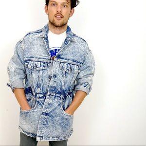 Vintage Levi's 80s Acid Wash Long Denim Jacket M